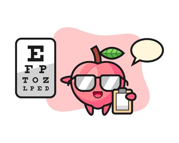 Illustratie van perzik mascotte als een oogheelkunde, schattig stijl ontwerp voor t-shirt