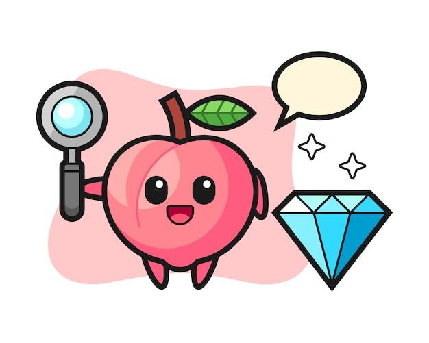 Illustratie van perzikkarakter met een diamant, leuk stijlontwerp voor t-shirt