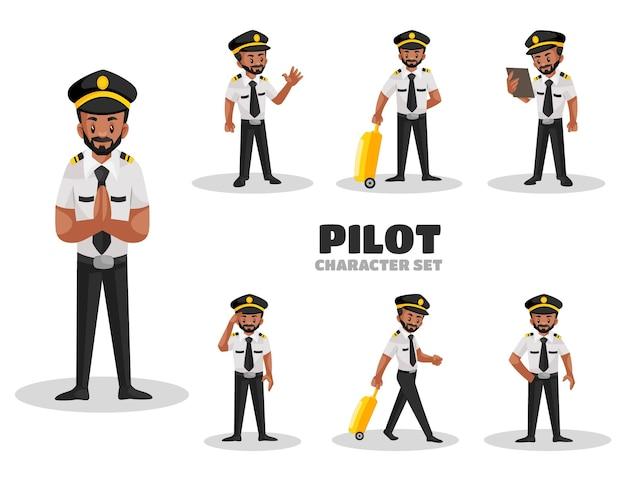 Illustratie van pilot character set