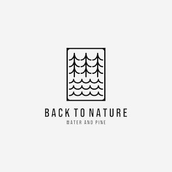 Illustratie van pine en water wave logo vector line art, design of wildlife nature outdoor