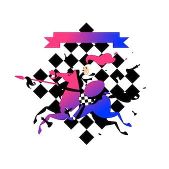 Illustratie van pionnen te paard