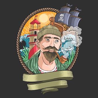 Illustratie van piraten roken met golven en piratenschepen op de achtergrond