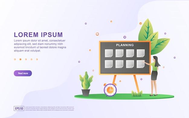 Illustratie van planning concept. vrouwen stellen plannen voor de toekomst op