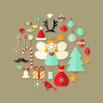 Illustratie van platte kerstpictogrammen die schattig zijn ingesteld op lichtbruin