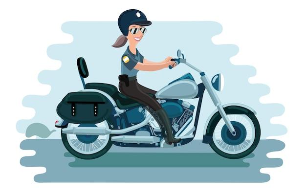 Illustratie van politie vrouw rijdt door haar motorfiets in helm