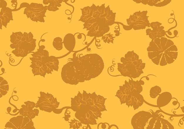 Illustratie van pompoenen op gele achtergrond