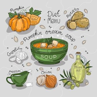 Illustratie van pompoenroomsoep ingrediënten recept geïsoleerde achtergrond