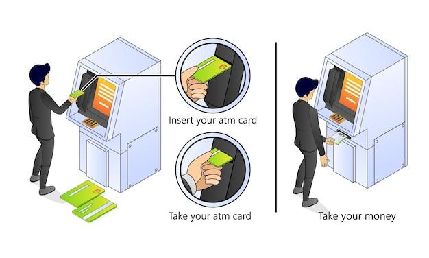 Illustratie van premium vector isometrische stijl over atm-bankieren en financieren met een karakter
