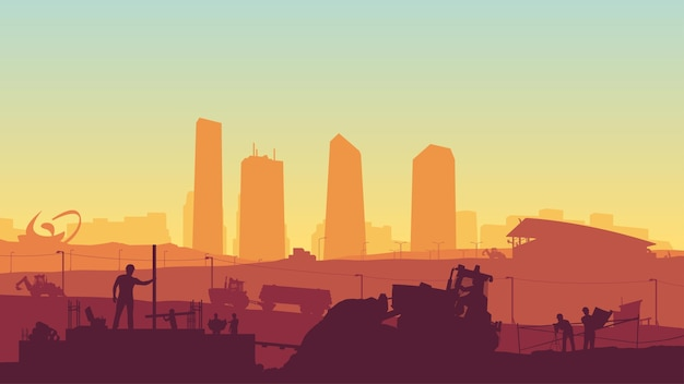 Illustratie van professionele bouwers bij enorme constructie bij zonsondergang