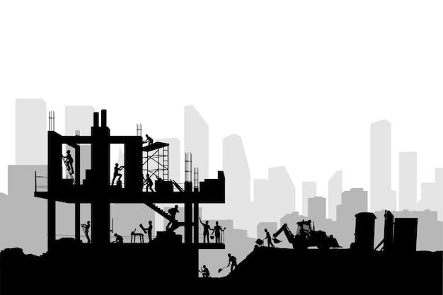 Illustratie van professionele bouwers die nieuwe betonnen bouwsilhouetstijl construeren