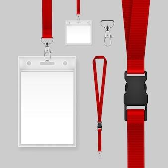 Illustratie van professionele identiteitskaart sjabloon id badges houders