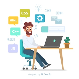 Illustratie van programmeur die bij zijn bureau werkt