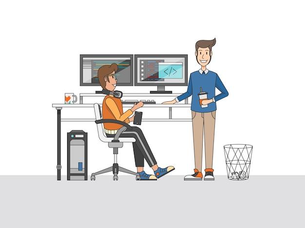 Illustratie van programmeurs op een bureau
