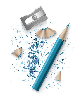 Illustratie van puntenslijper en blauw potlood