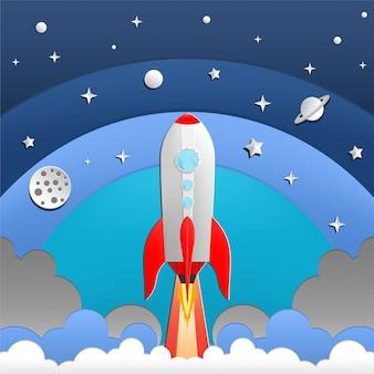 Illustratie van raket in de ruimte