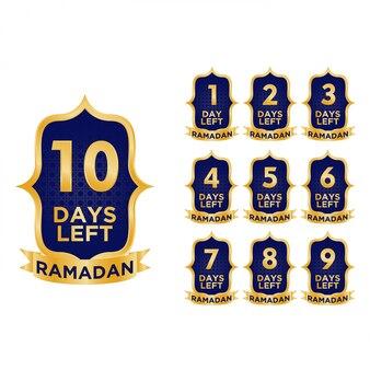 Illustratie van ramadan countdown days design met luxe goud