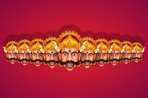 Illustratie van ravana van ramayana op de achtergrond van happy dussehra festival of india
