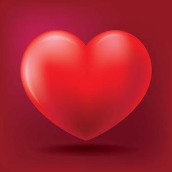 Illustratie van realistische hartvorm met schaduw