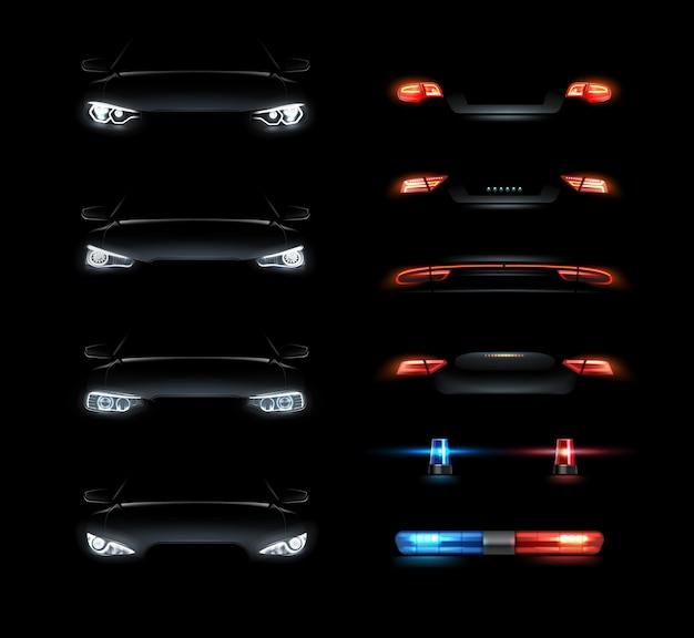 Illustratie van realistische led-koplampen instellen voor- en achterkant uitzicht op zwarte achtergrond