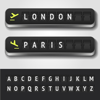 Illustratie van realistische luchthaven tijdschema en scorebord alfabet
