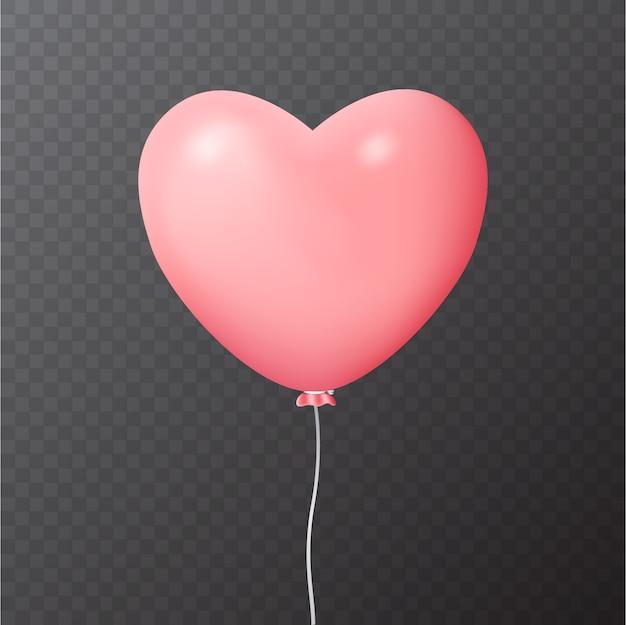 Illustratie van realistische roze ballon met hartvorm