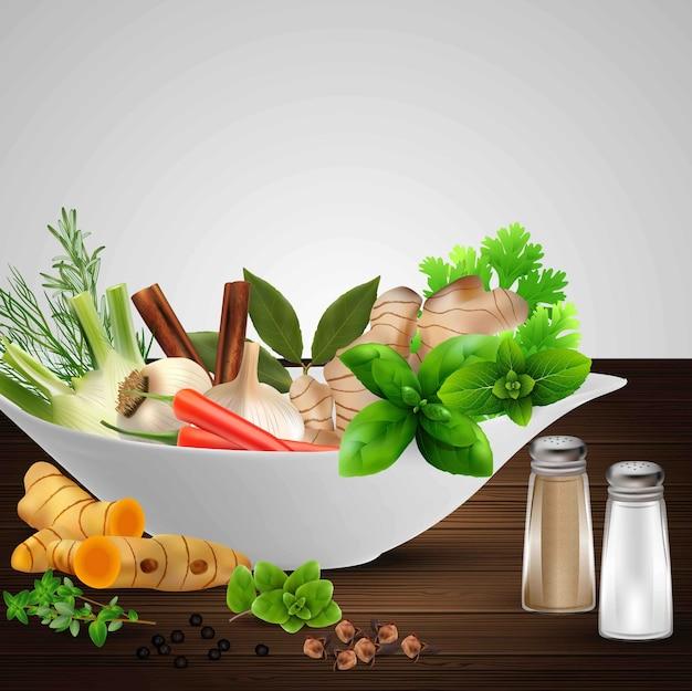 Illustratie van realistische specerijen en kruiden in witte kom