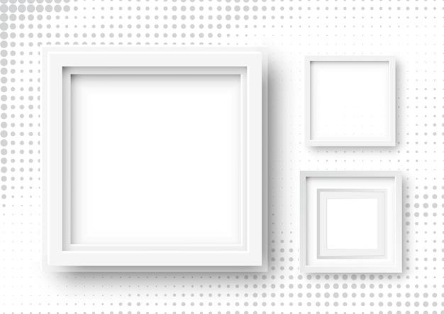Illustratie van realistische vierkante frames. witte lege afbeeldingsframe op halftoon achtergrond