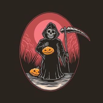 Illustratie van reaper houdt de pompoen vast