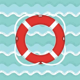 Illustratie van reddingsboei op nautische achtergrond