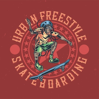 Illustratie van reggaemens op skatebord