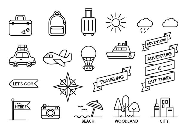 Illustratie van reis geplaatste pictogrammen