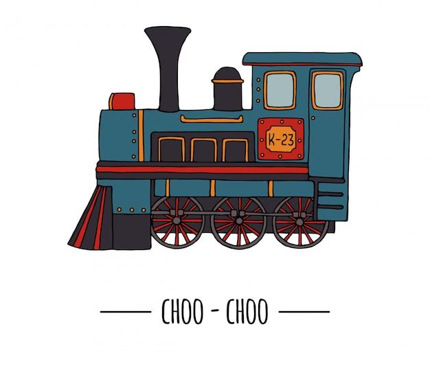 Illustratie van retro motor. vintage trein illustraties geïsoleerd op een witte achtergrond. cartoon stijl