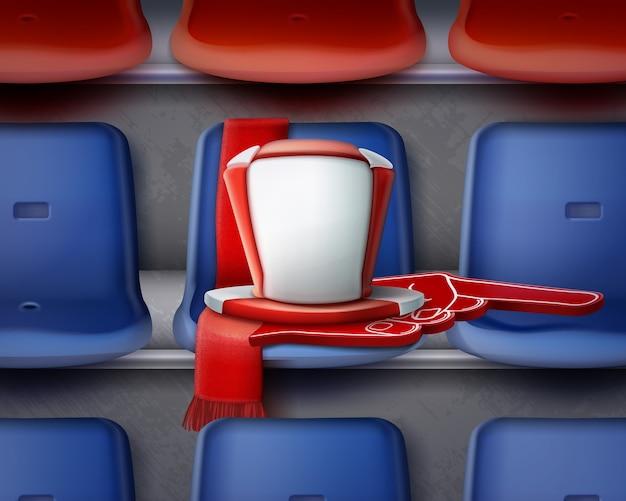 Illustratie van rij blauwe en rode plastic stoelen op de tribune met attributen van de ventilator