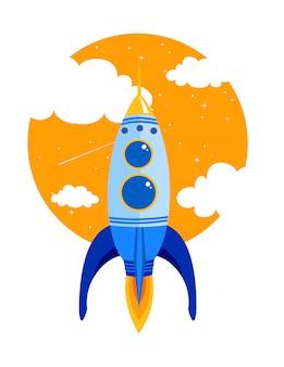 Illustratie van rocket snel vliegt in de lucht tussen de wolken. start bedrijfsconcept in vlakke stijl.