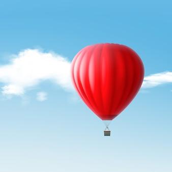 Illustratie van rode hete luchtballon die in de hemel met wolken vliegen die op blauwe achtergrond worden geïsoleerd