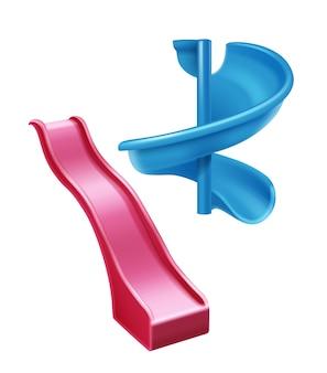 Illustratie van rode plastic dia en spiraalvormige blauwe dia