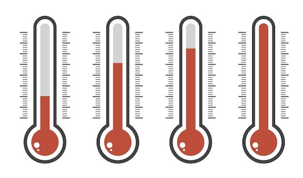 Illustratie van rode thermometers met verschillende niveaus.