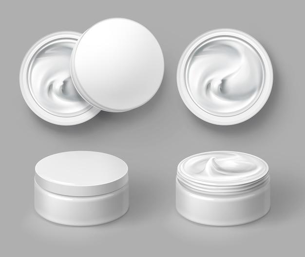 Illustratie van ronde witte cosmetische container met crème boven- en vooraanzicht