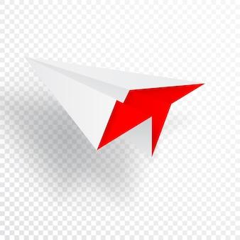 Illustratie van rood origamidocument vliegtuig op witte achtergrond.