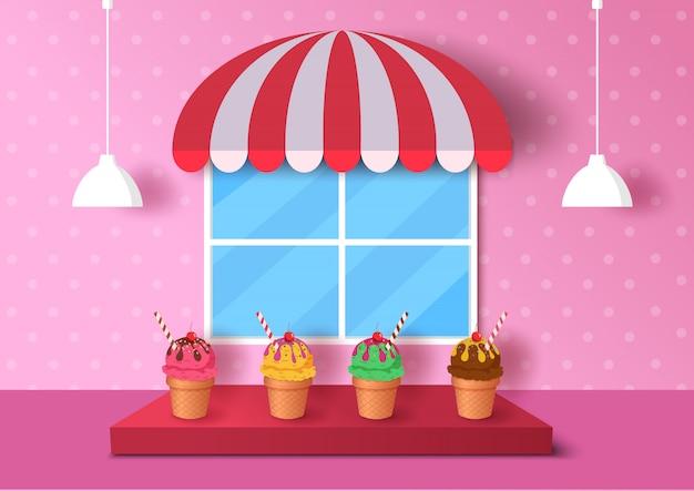 Illustratie van roomijskegel die met roze achtergrond op 3d stijl wordt verfraaid