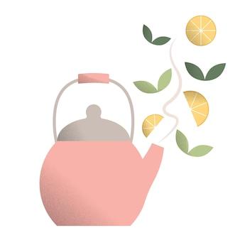 Illustratie van roze hete theepot een theepot met een handvat hete ketel met stoom vectorillustratie