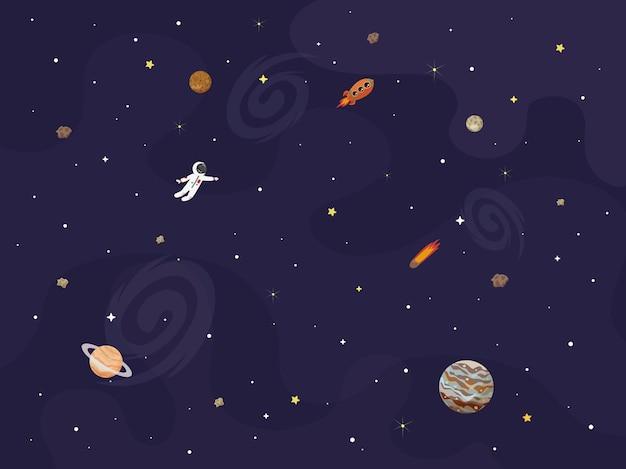 Illustratie van ruimte, universum. leuke cartoonplaneten, asteroïden, kometen, raketten. kinderen illustratie.