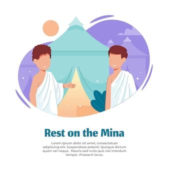 Illustratie van rusten op de mina tijdens het doen van hajj