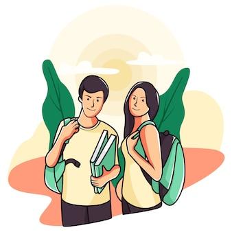 Illustratie van samen naar school te gaan