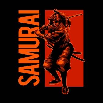 Illustratie van samurai hief zijn zwaard op