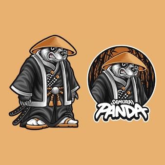 Illustratie van samurai panda beer
