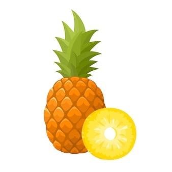 Illustratie van sappige biologische ananas geïsoleerd
