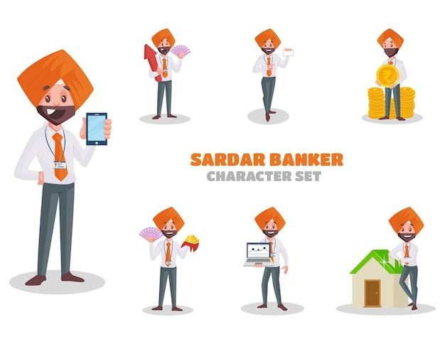 Illustratie van sardar bankier tekenset