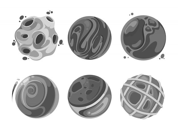 Illustratie van satellieten. vector set pictogram abstracte elementen in de ruimte