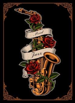 Illustratie van saxofoon met rozen en lint in tattoo-stijl op de donkere achtergrond.